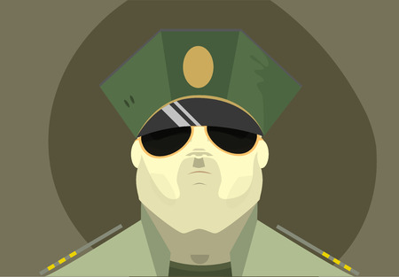 unshaven: The soldiers face with glasses and cap Stock Photo