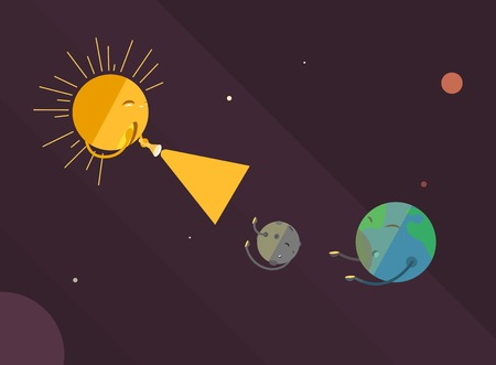 indignation: Flat style. The sun is shining with a flashlight on the earth and the moon.