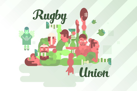 scrum: Illustration of rugby union players in a scrum. The humorous style