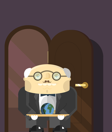 butler: old butler standing in the doorway with a tray on which lies the land of the planets