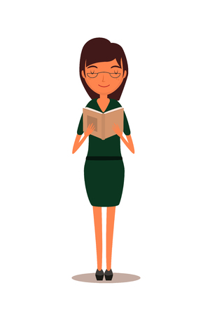 woman reading book: Portrait of brunette woman reading book. Beautiful woman wearing glasses reading book. Illustration