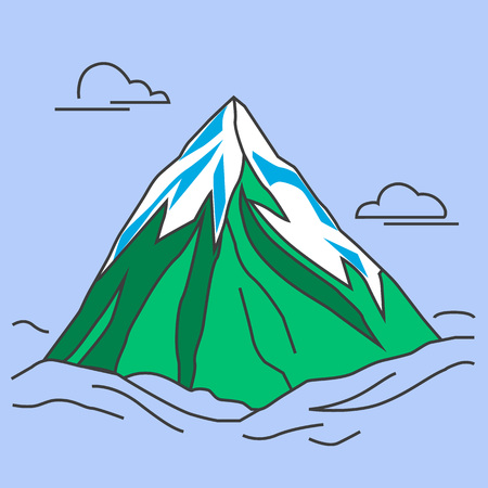 green mountain: Mountain with clods. Green mountain with snowy peak. Color outlined illustration. Vector. Illustration