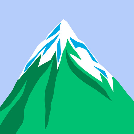 Mountain isolated on blue background. Green mountain with snowy peak. Color cartoon illustration. Vector.