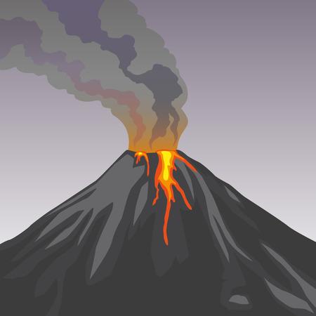 crater: Crater mountain volcano hot natural eruption. Grey volcano. Dangerous phenomenon. Vector illustration.