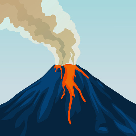 ash cloud: Crater mountain volcano hot natural eruption. Blue volcano. Dangerous phenomenon. Vector illustration.