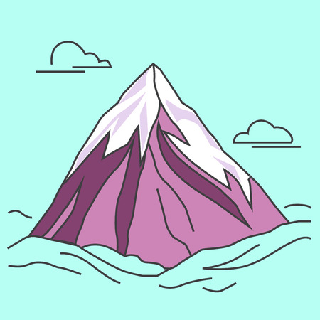 Mountain with clods. Green mountain with snowy peak. Color outlined illustration. Vector. Stock Photo
