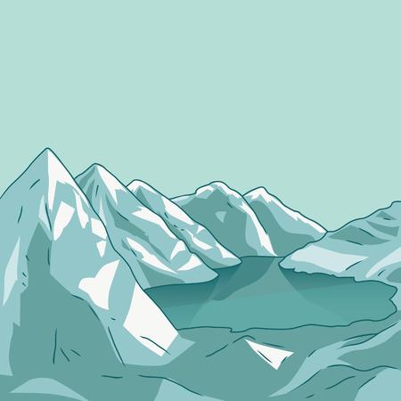 glacial: Mountain landscape. Glacial lake. North landscape. Vector modern illustration Illustration