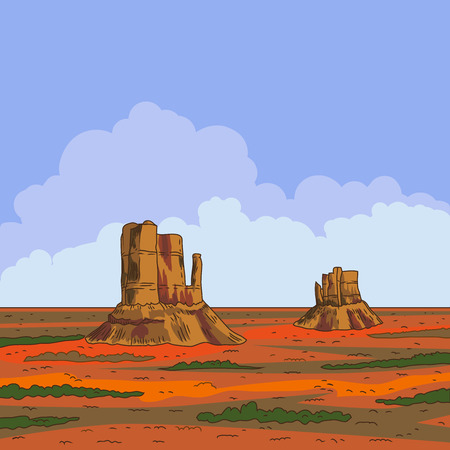 prairie: Prairie landscape with blue sky and clouds. Vector illustration. Wild nature.