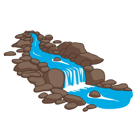 Blu fiume che scorre a valle attraverso un pietre. Isolato su sfondo bianco. Illustrazione vettoriale.