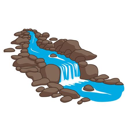 Niebieska rzeka płynąca w dół strumienia przez kamienie. Samodzielnie na białym tle. Ilustracji wektorowych.
