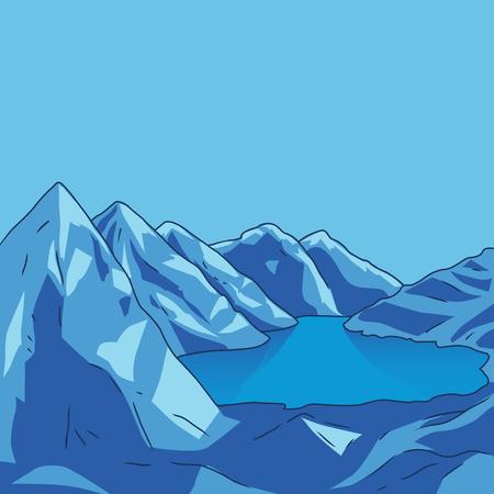 glacial: Blue mountain landscape. Glacial lake. North landscape. Vector modern illustration