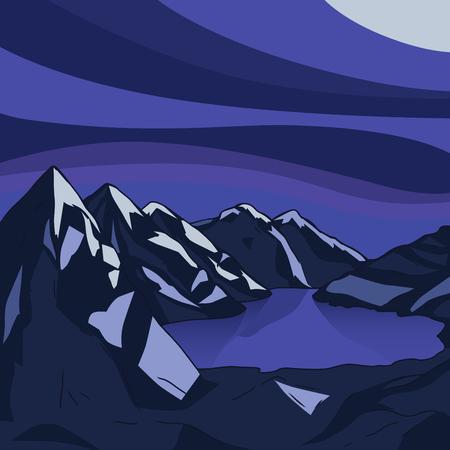 glacial: Night mountain landscape. Glacial lake. North landscape. Vector modern illustration Stock Photo