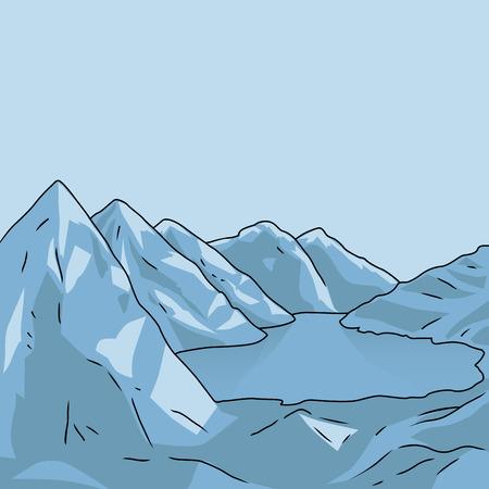 glacial: Mountain north landscape. Glacial lake. Vector modern illustration Illustration