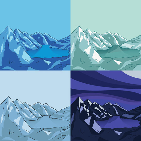 Set of mountain landscapes. Glacial lake. Collection of north landscapes. Cartoon vector modern illustration.
