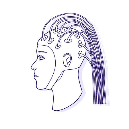 Electroencephalography procedure. EEG. Vector outline illustration. Illustration