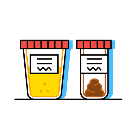 stool test: Vector illustration of urine and fecal analysis. Flat style. Containers for analysis isolated on white background.