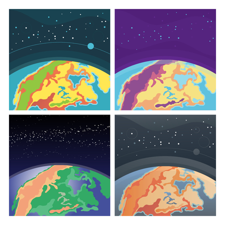 Set of earth in outer space. Collection of cosmic background with Earth. Planet in universe, Cartoon vector. Çizim