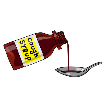 Vector medicated syrup, cough syrup  brown color bottle with liquid and a spoon. Label with text. Cartoon style.