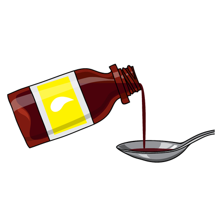 Vector medicated syrup, cough syrup  brown color bottle with liquid and a spoon. Bottle with label. Cartoon style.