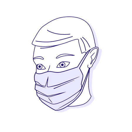 Vector illustration of medical protective shielding bandage. Medical mask. Vector outlined illustration. Ilustração