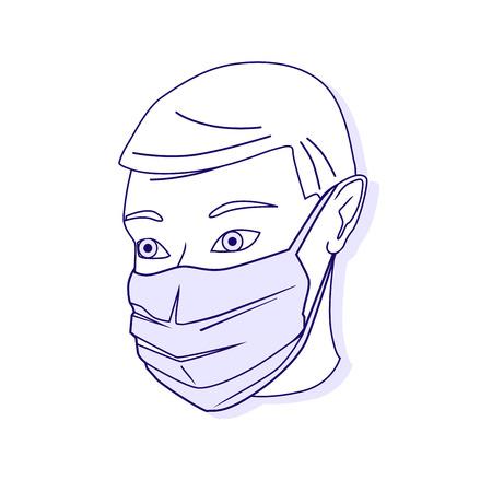 Vektor-Illustration der medizinischen Schutzabschirmteil Verband. Medizinische Maske. Vector skizzierte Illustration.