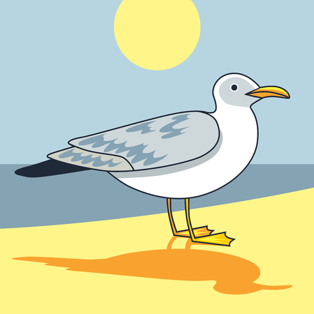 Gull flight bird and seabird gull. Sartoon looking gull. Cartoon illustration. Sun. Beach. Sea. Sea background. Herring Gull for your journal article or encyclopedia.