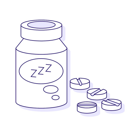 syringe inoculation: Sleeping pills with three Z Isolated on White Background. Vector outline illustration.