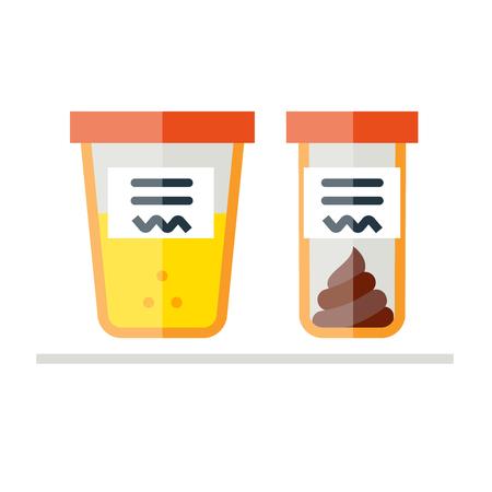 Vector illustratie van de urine en fecale analyse. Vlakke stijl. Containers voor analyse op een witte achtergrond.