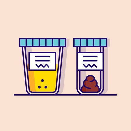 feces: Vector illustration of urine and fecal analysis. Flat style. Containers for analysis isolated on pink background.