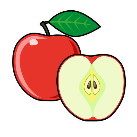 two and a half: Apples on a white background. Sliced ??fruit. Peeled half apple. Red apples illustration. Apples vector. Red apples poster. Vector illustration Illustration