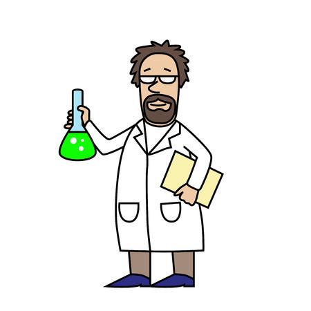 Scientist at Work. Scientist with flask. Cartoon character. Old man. Vector modern illustration Ilustração