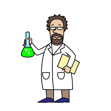 Scientist at Work. Scientist with flask. Cartoon character. Old man. Vector modern illustration Illustration