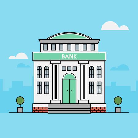 銀行。金融の図。建物のイラスト。フラット スタイル。家のアイコン。モダンなアイコンです。概要図。ベクトル。