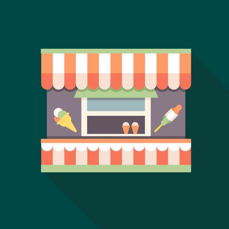 Ice-cream kiosk. Flat restaurant. Flat style. Outline illustration. Vector illustration.