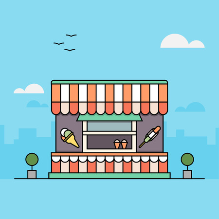 Ice-cream kiosk. Flat restaurant. Vlakke stijl. Schets illustratie. Vector illustratie.
