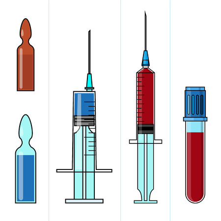 ampule: Set of medicine and healthcare objects such as painkillers injection, ampule with liquid, blood test tube isolated on white background.