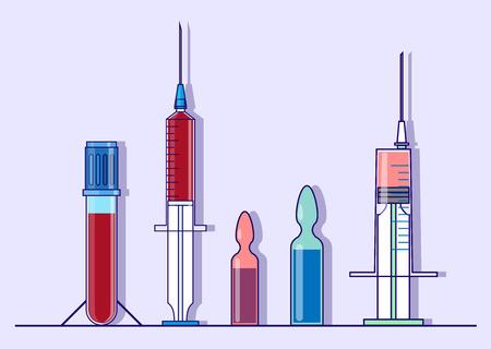 Reeks geneeskunde en gezondheidszorgvoorwerpen zoals pijnstillersinjectie, ampule met vloeistof, bloedonderzoekbuis die op blauwe achtergrond wordt geïsoleerd. Stockfoto - 65734386