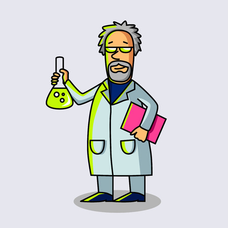 Scientist at Work. Scientist with flask. Cartoon character. Old man. Vector modern illustration. Imagens - 65734594