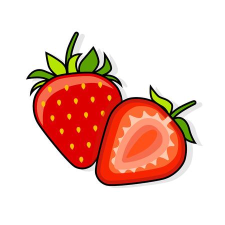 Strawberry on a white background. Set Strawberry. Vector illustration,