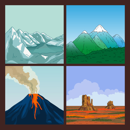 crater: Collection of mountains. Crater mountain volcano hot natural eruption. Prairie landscape. Set of nature landscape. Mountains landscape. Blue sky. Vector illustration. Illustration