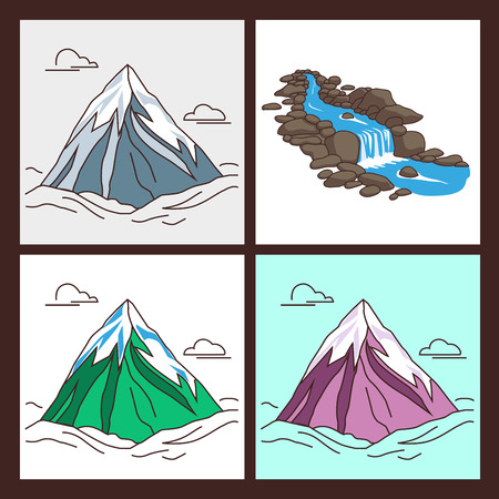peaks: Collection of mountains with snowy peaks in outlined cartoon style. Illustration of river flowing down stream across a stones. Modern illustration. Illustration