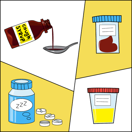 cough syrup: Set of medicine and healthcare objects such as prescription, medical tests, cough syrup. Vector cartoon illustration.