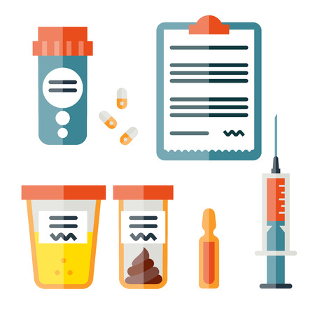 stool test: Icon set in flat style. Medicine illustrations. Medicine and drugs. Vector illustration. Illustration