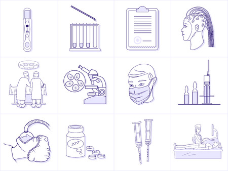 sleeping pills: Set of healthcare professionals and medical equipment. Premium quality outline symbol collection. Simple mono linear vector illustration. Stroke vector for web and print graphics.