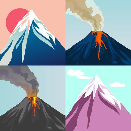 山のコレクションです。火口山火山ホット自然噴火。真っ赤な太陽。青い空。ベクトルの図。  イラスト・ベクター素材