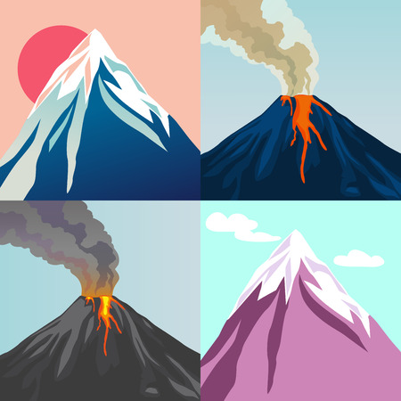 Collection of mountains. Crater mountain volcano hot natural eruption. Red sun. Blue sky. Vector illustration. Illustration