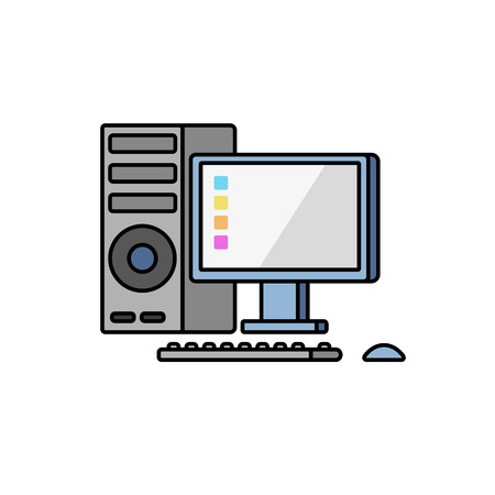 The personal computer on a white background. Vector flat.