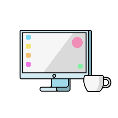Monitor on a white background. Vector flat. Ilustrace