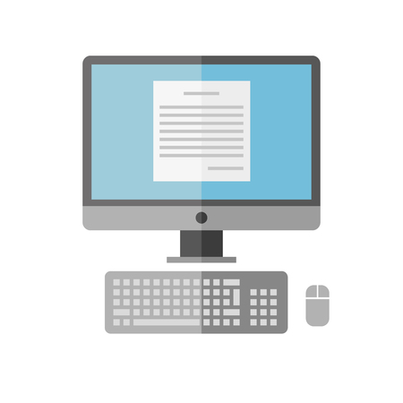 old pc: The personal computer on a white background. Vector flat.