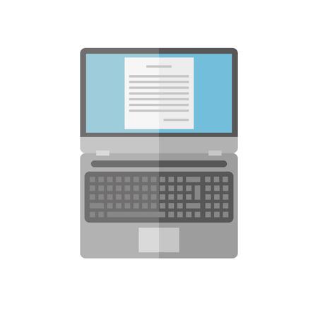 open notebook: Laptop on white background. Vector flat. Illustration